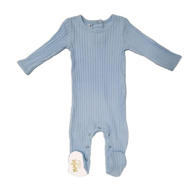 Denim Blue Ribbed Footie