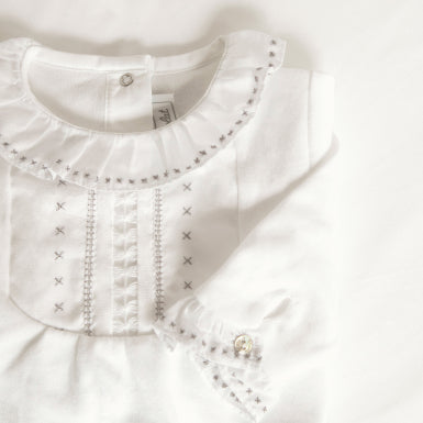 White Embroidered Emerised Cotton Ruffled Collar Footie