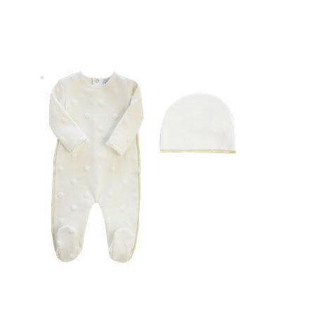White Embossed Stars Footie and Hat Set