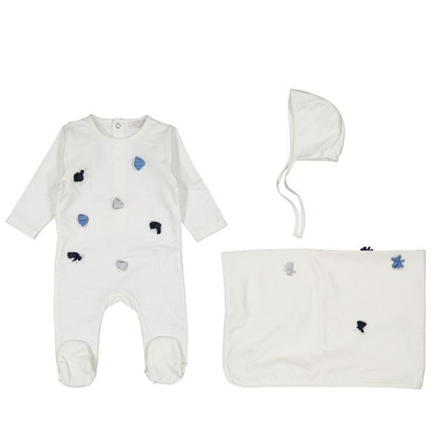 White Ribbon 3 Piece Layette Set