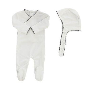 White Velour Black Piped Kimono Footie and Bonnet Set