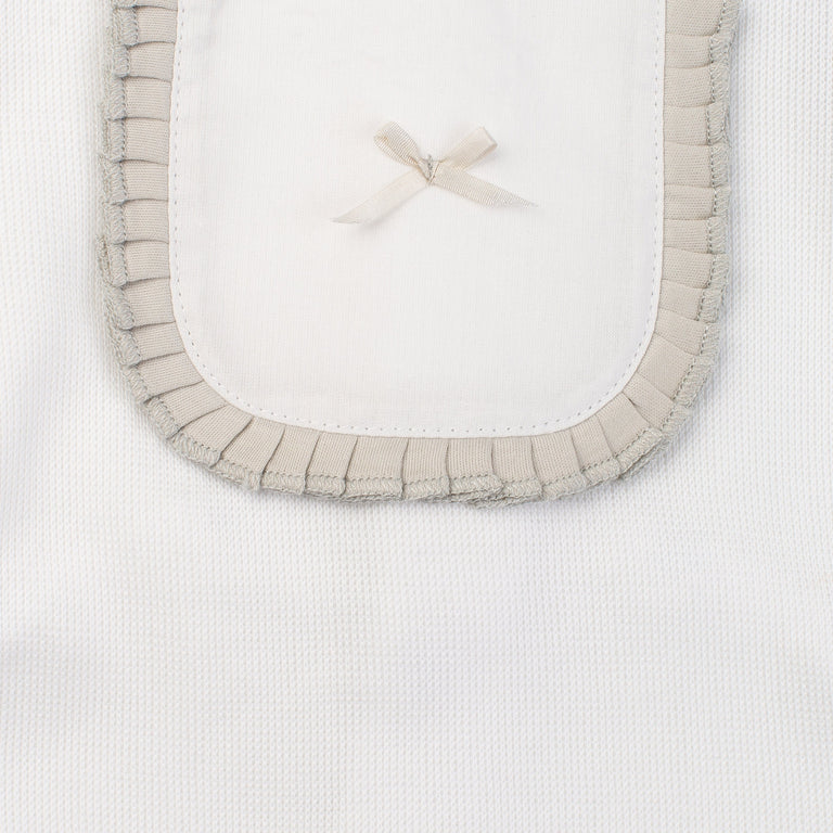 White Knit Texture Pleated Bib Footie