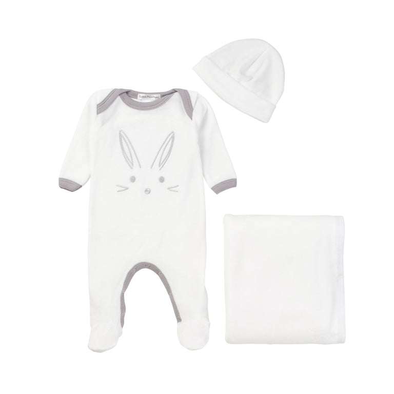 White Bunny Velour 3 Piece Layette Set