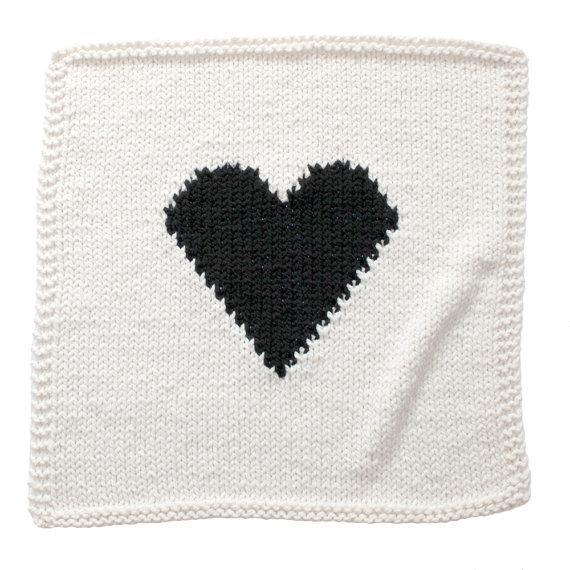 Chunky Knit Cream/black Hand Knit Blanket