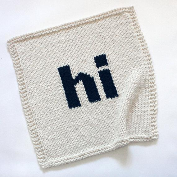 "Chunky Knit Cream Black ""hi"" Hand Knit Blanket"