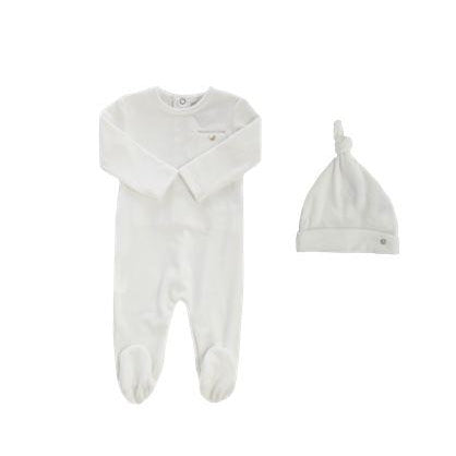 White Velour Pocket Footie And Knot Hat