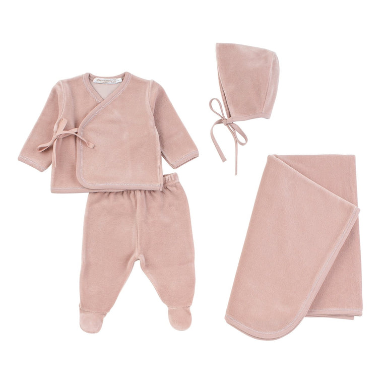 Rose Pink Velour Wrap Outfit and Bonnet Set