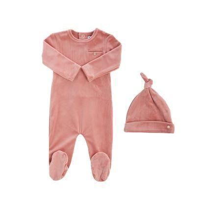 Pink Velour Pocket Footie And Knot Hat
