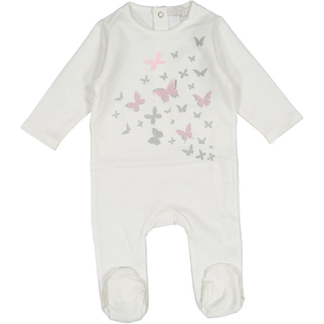 White Butterfly Print Footie