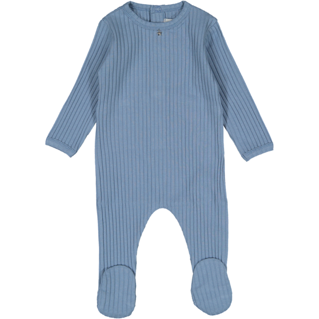 Dusty Blue Blue Ribbed Footie