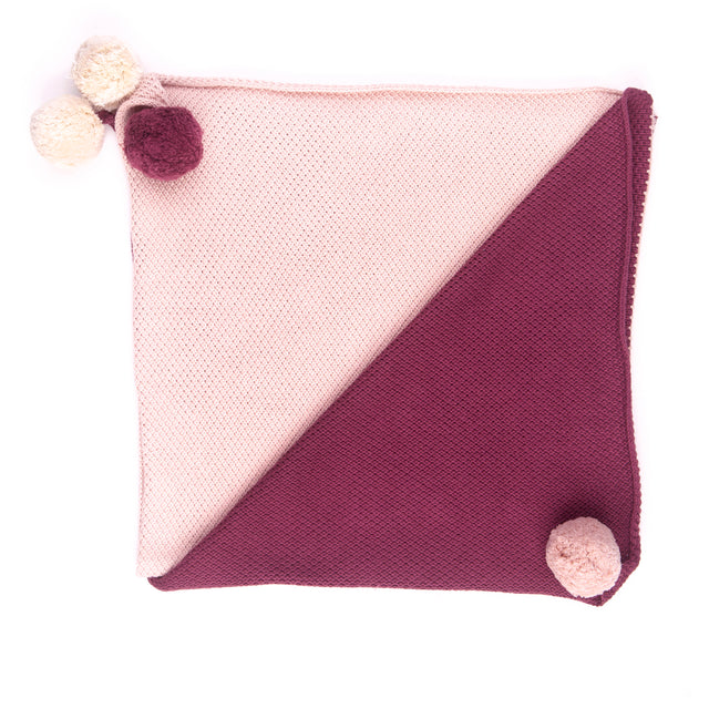 Wine and Dusty Rose Pompom Knitted Blanket