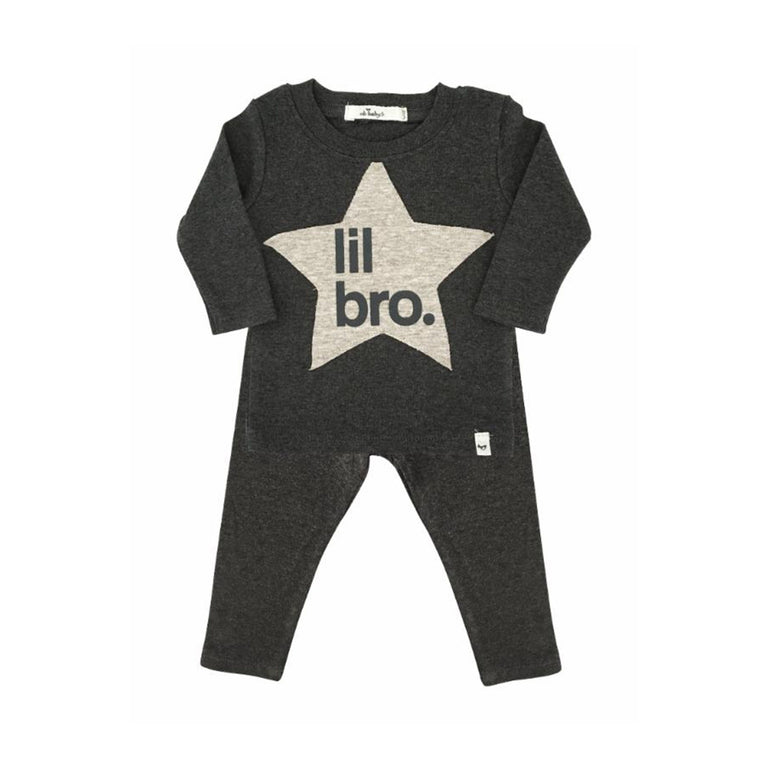 "Charcoal Heather ""Lil Bro""  Star Patch 2 Piece Set"
