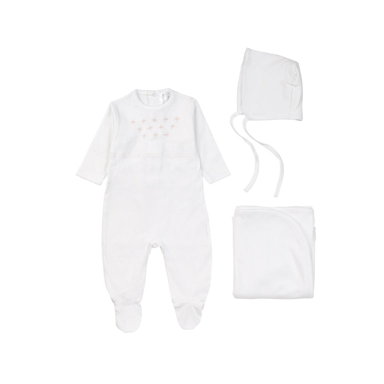 White Cotton Embroidered Footie