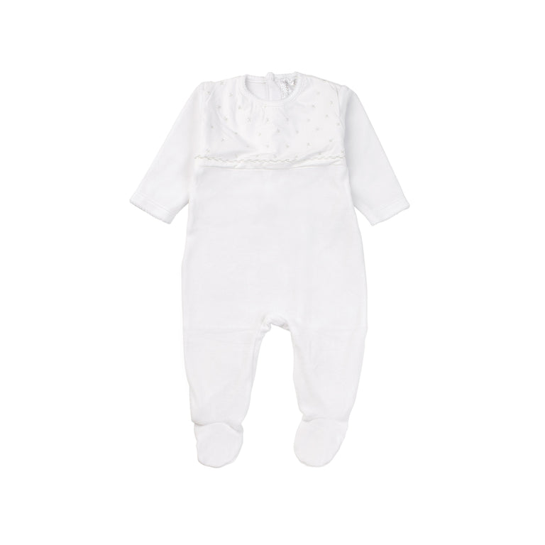 White Velour Embroidered Footie