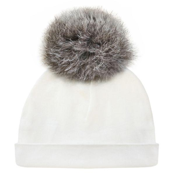 Natural Grey Fur Pompom Hat