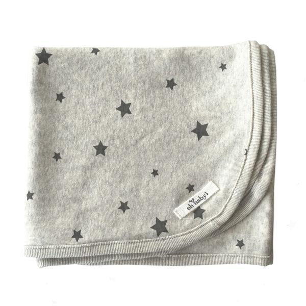Oatmeal Stars Charcoal Ink Cotton Layette Blanket
