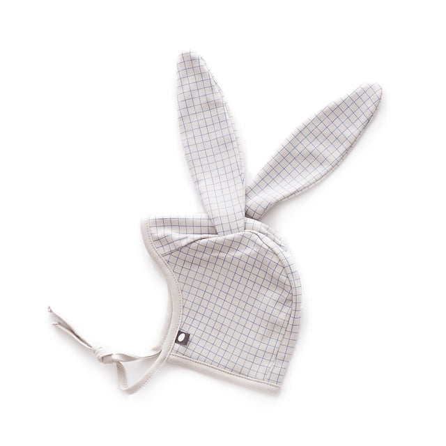Light Grey/Blue Checks Bunny Hat