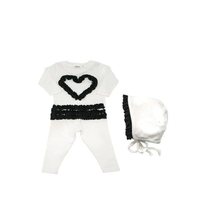 Cream Ruffle Heart 2 Piece Set