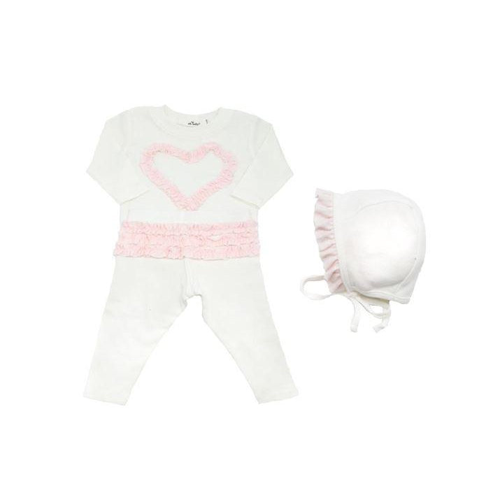 Pale Pink Ruffle Heart 2 Piece Set