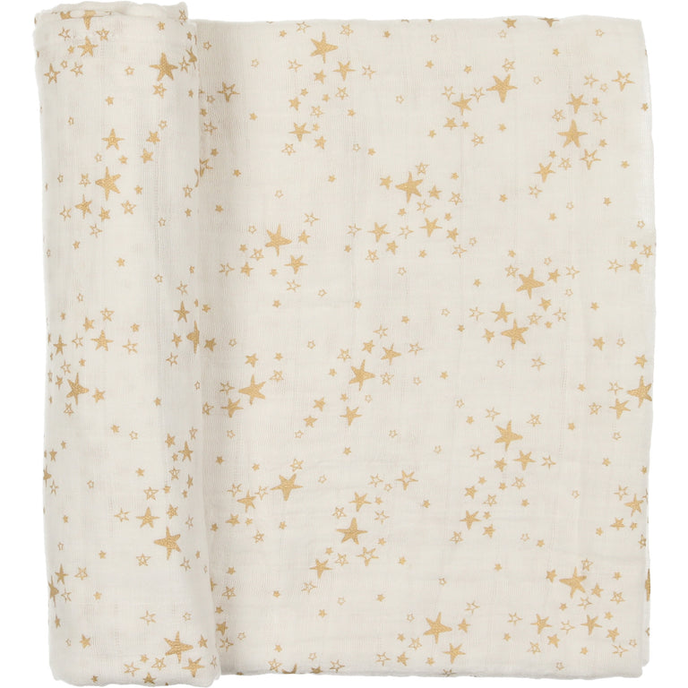 White With Gold Star Design Swaddle