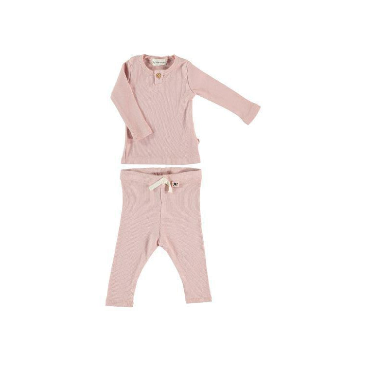 Soft Pink Organic Ribbed Set
