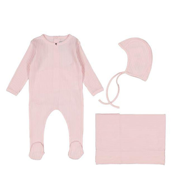 Light Pink Ribbed 3 Piece Layette Set