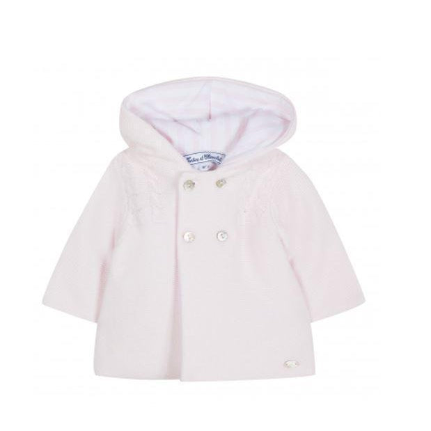 Pale Pink Knit Hooded Coat