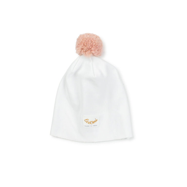 White Rose Pom Pom Hat