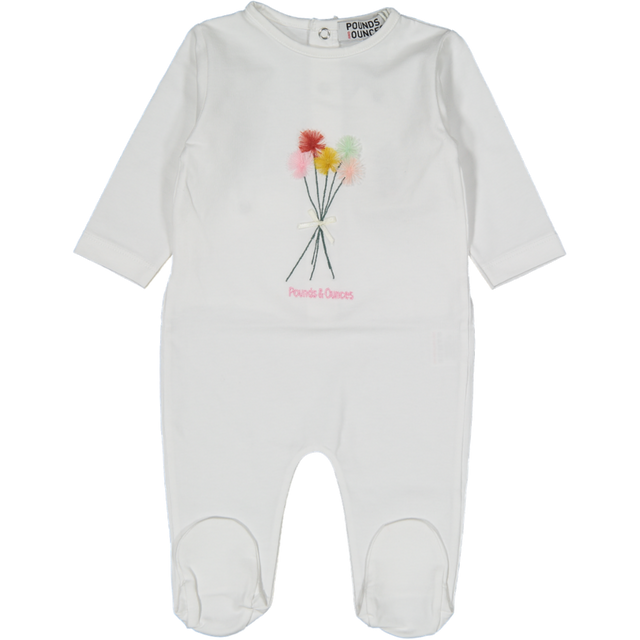 White Flower Cotton Footie