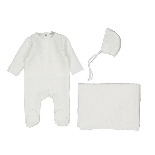 White Textured 3 Piece Layette Set