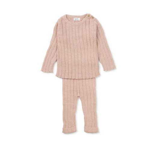 Dusty Rose Ribbed Knit 2 Piece Set