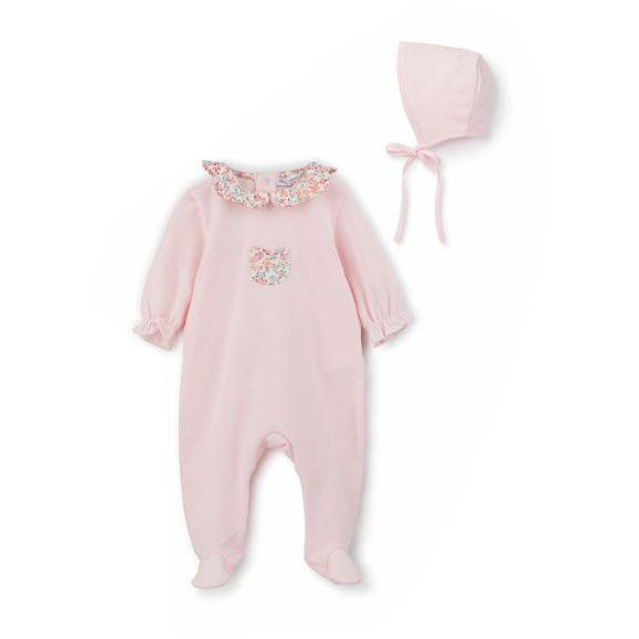Rose Pink Floral Collar And Pocket Cotton Footie And Bonnet