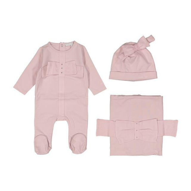 Dusty Pink Knit Bow 3 Piece Layette Set