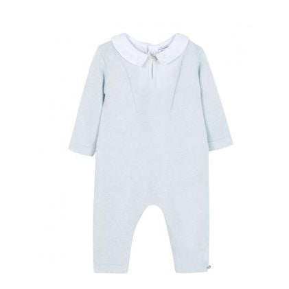 Sky Blue Knit Footie With TC Collar