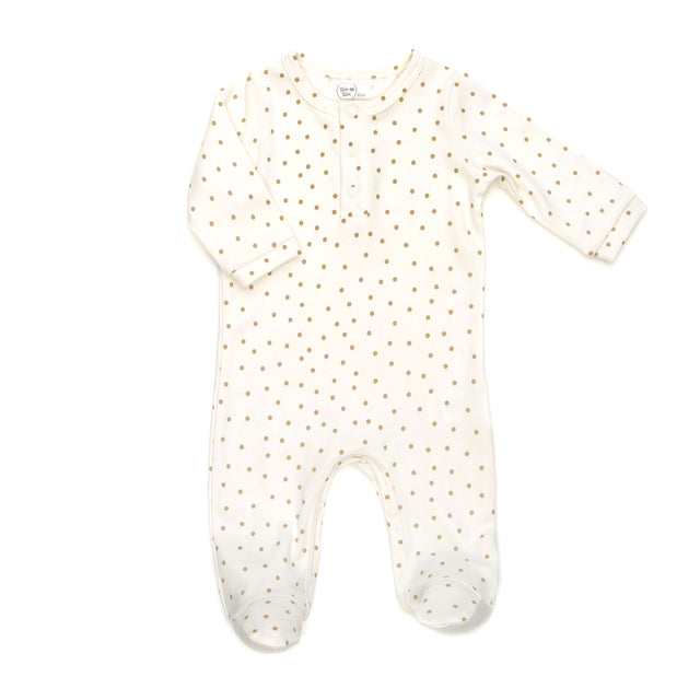 Gold Dots Cotton Henley Footie