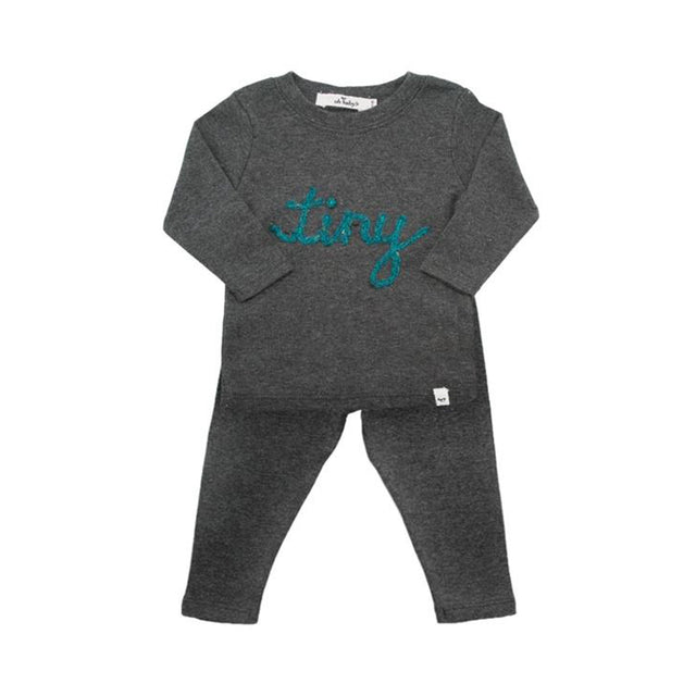 "Charcoal Heather ""Tiny"" Turquoise Yarn Cotton 2 Piece Set"