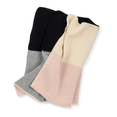Dusty Rose Colorblock Knitted Blanket