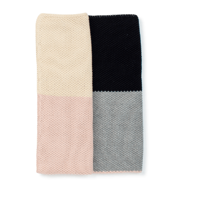 Dusty Rose Color block Knitted Blanket