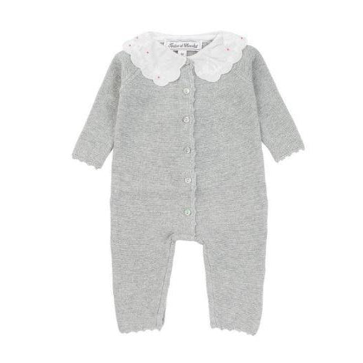 Grey Marl Knit Scalloped One Piece