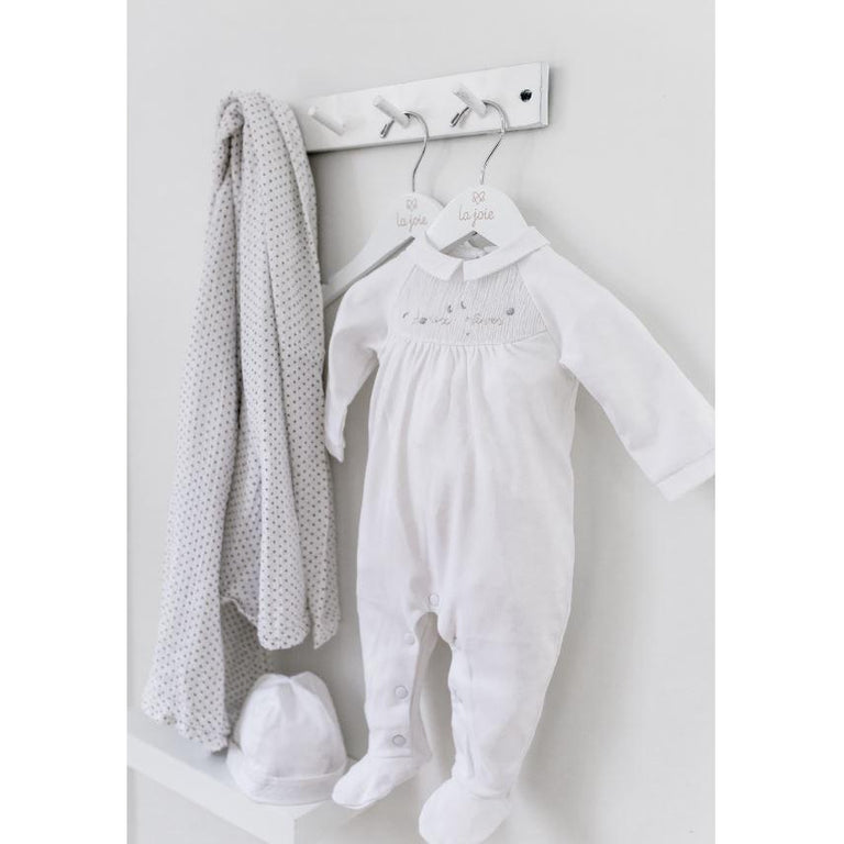 "White Smocked ""Doux rêves"" Footie"