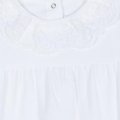 White Lace Ruffle Collar Footie
