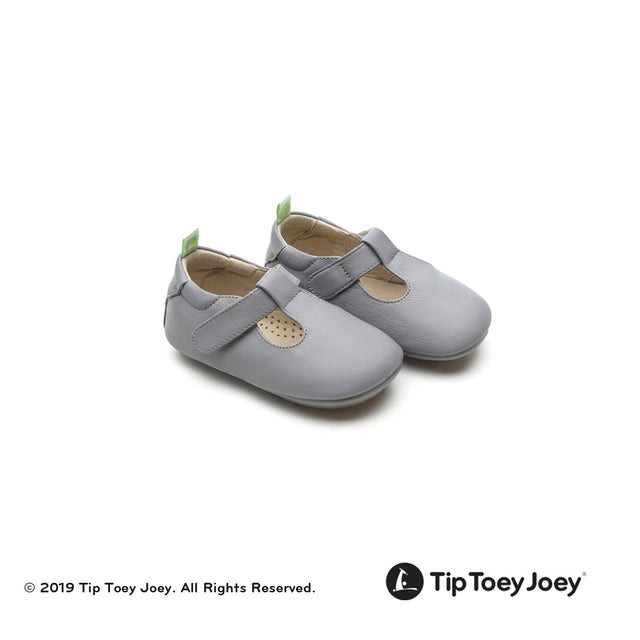 Grey Strappy Leather Baby Shoes