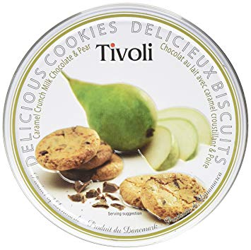 Tivoli Caramel Crunch Milk Chocolate Pear Cookies Tin 150g