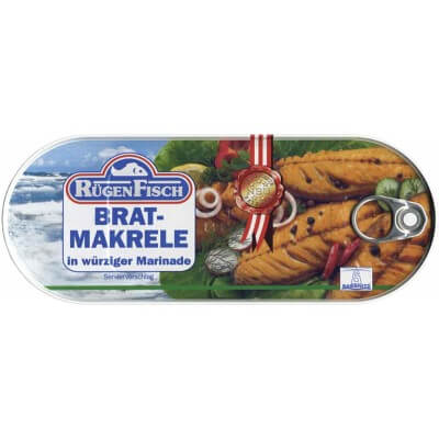 Ruegenfisch Brat Makrele in Wurziger Marinade, Fried Mackrel in Spicy Marinade 500g
