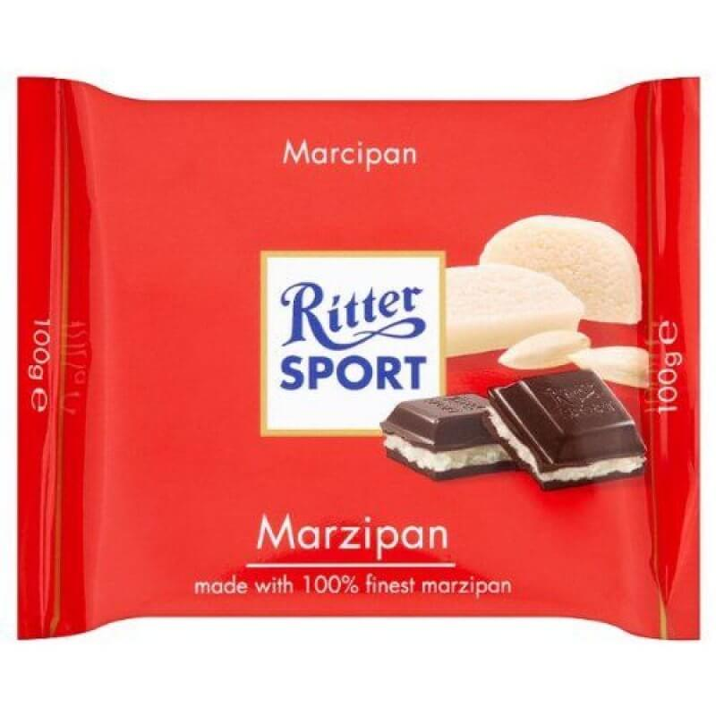 Ritter Sport Dark Chocolate Bar With Marzipan Filling 100g
