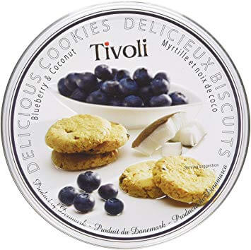 Tivoli Blueberry and Coconut Cookie Tin 150g