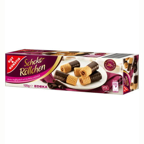 Gut And Gunstig Dark Chocolate Wafer Rolls 125g