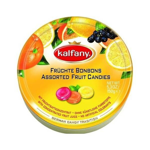 Kalfany Assorted Flavor Fruit Candies Tin 150g