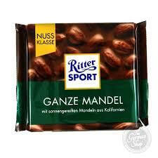 Ritter Sport Milk Chocolate With Whole Almonds 100g