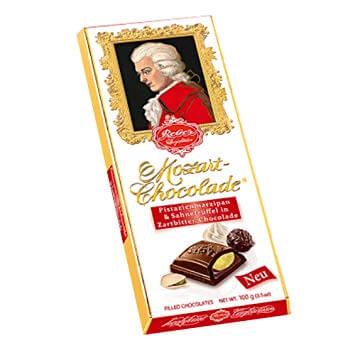 Reber Mozart Dark Chocolate Filled with Delicious Pistachio Marzipan and Cream Truffle 100g